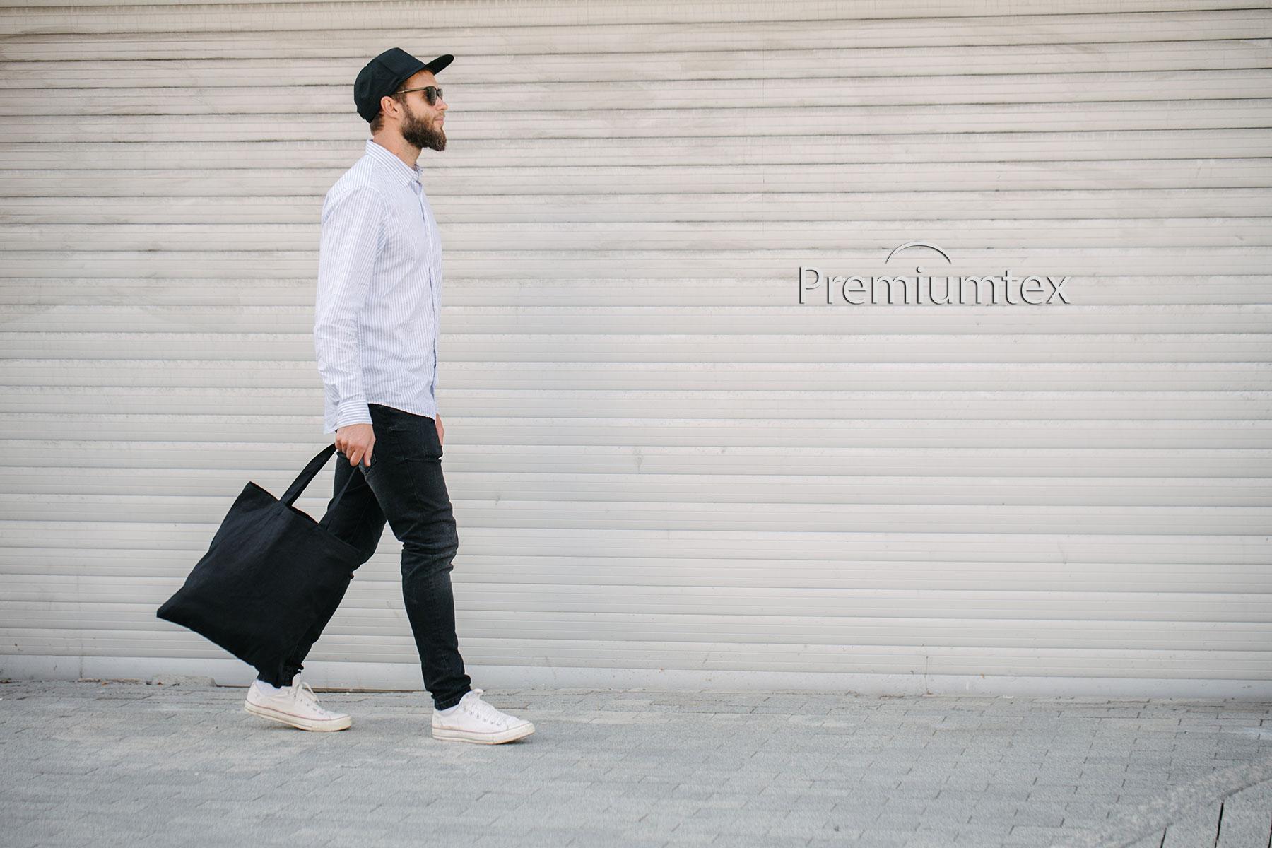 Premiumtex Baumwolltasche farbig mit langen Griffen