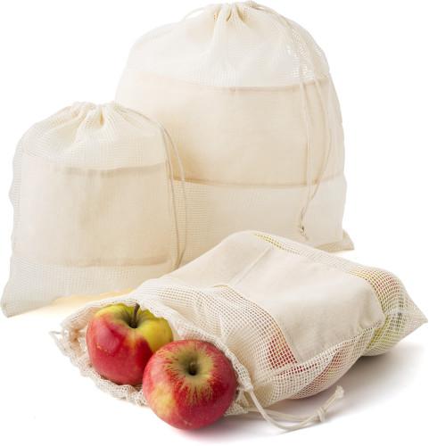 Premiumtex Einkaufstaschen aus Bio-Baumwolle im 3er-Set für Obst und Gemüse