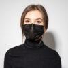 Premiumtex OP Maske in schwarz Einweg-Mundnasenmaske 3-lagig mit elastischen Ohrschlaufen und Nasenbügel, Norm: EN 14683:2019 Typ IIR