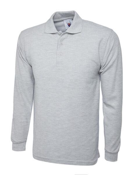 Poloshirt Premiumtex lange Ärmel hellgrau meliert