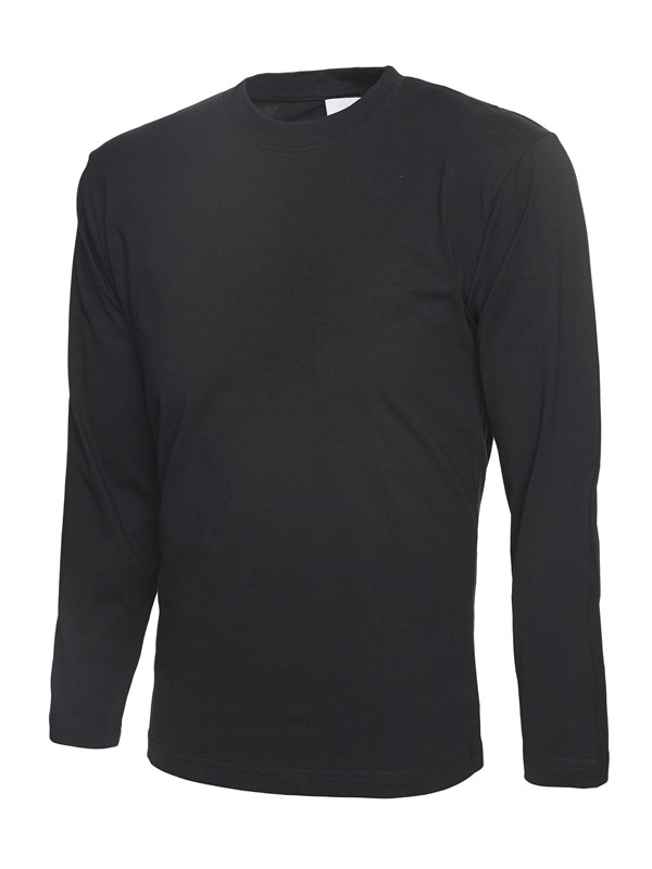 T-Shirt mit langen Ärmeln aus 100% Baumwolle schwarz