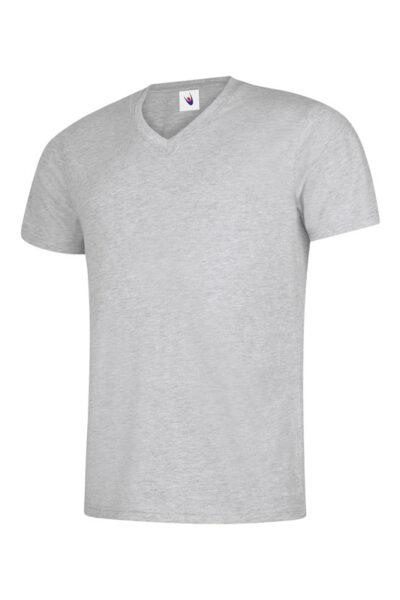 T-Shirt mit V-Ausschnitt 100% Baumwolle hellgrau