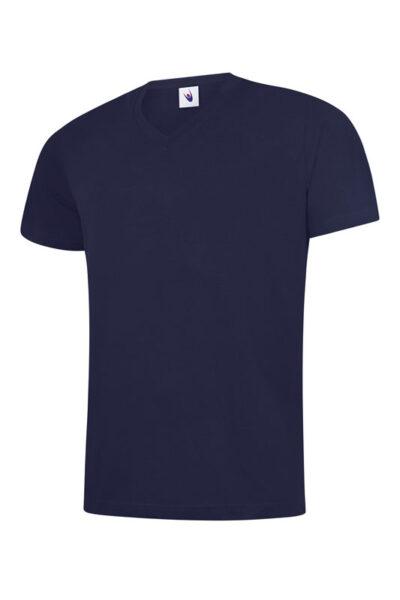 T-Shirt mit V-Ausschnitt 100% Baumwolle marineblau