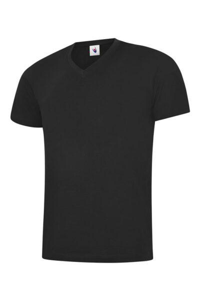 T-Shirt mit V-Ausschnitt 100% Baumwolle schwarz