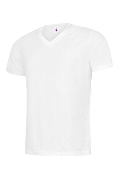 T-Shirt mit V-Ausschnitt 100% Baumwolle weiss