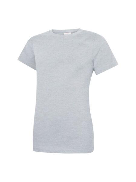 Damen T-Shirt aus 100% Baumwolle hellgrau-meliert