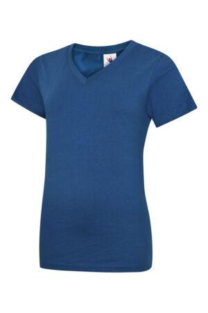 Damen T-Shirt mit V-Ausschnitt aus 100% Baumwolle blau