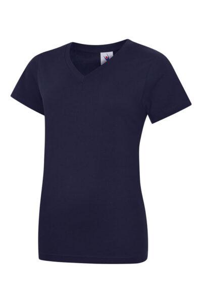 Damen T-Shirt mit V-Ausschnitt aus 100% Baumwolle marineblau