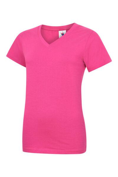 Damen T-Shirt mit V-Ausschnitt aus 100% Baumwolle pink