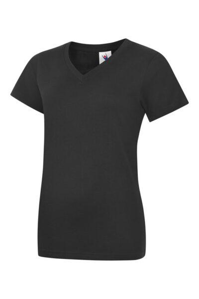Damen T-Shirt mit V-Ausschnitt aus 100% Baumwolle schwarz