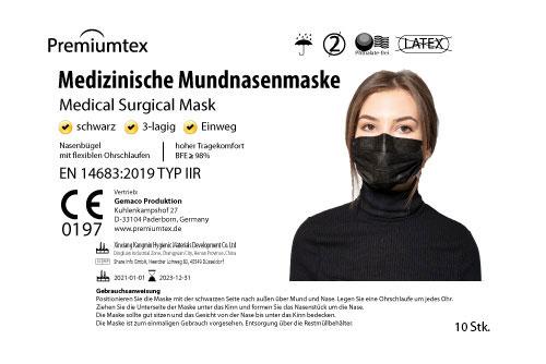 Premiumtex OP Maske in schwarz zu je 10 Stück hygienisch abgepackt. Einweg-Mundnasenmaske 3-lagig mit elastischen Ohrschlaufen und Nasenbügel, Norm: EN 14683:2019 Typ IIR