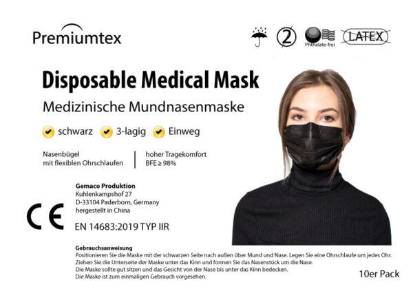 Premiumtex Mundnasenmaske schwarz 10er Packung